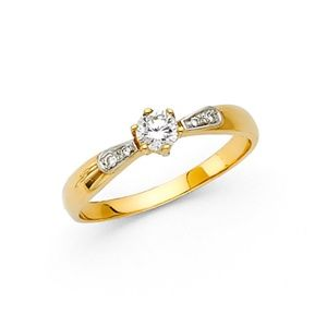 14K 6-Prong Basekt Set & Pave CZ Engagement Ring